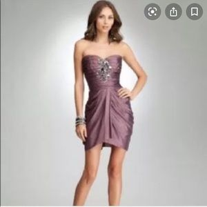 BeBe Faux Wrap Sequin Beaded Strapless Dress